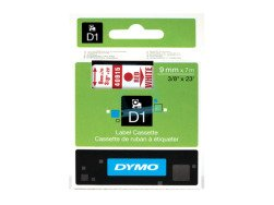 Dymo D1 Standard Labels 9mm x 7m red/white