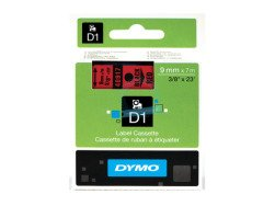 Dymo D1 Standard Labels 9mm x 7m black/red