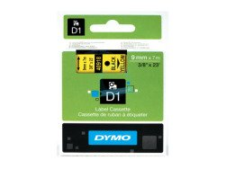 Dymo D1 Standard Labels 9mm x 7m black/yellow
