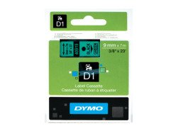 Dymo D1 Standard Labels 9mm x 7m black/green