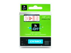 Dymo D1 Standard Labels 12mm x 7m red/transparent